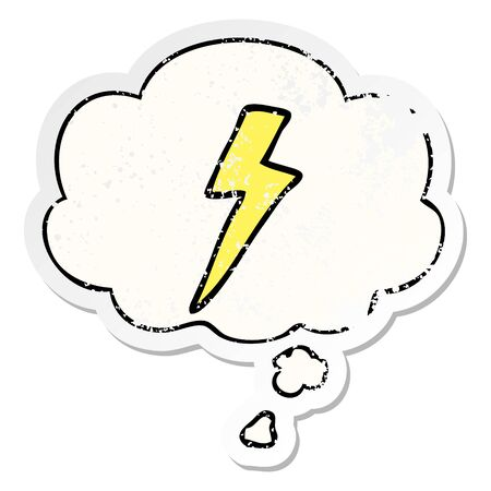 cartoon lightning bolt with thought bubble as a distressed worn sticker