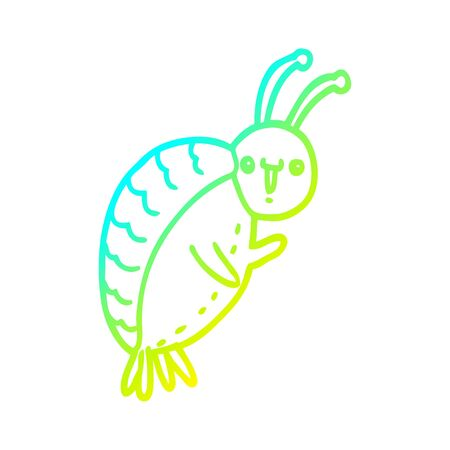 cold gradient line drawing of a cartoon beetle Çizim