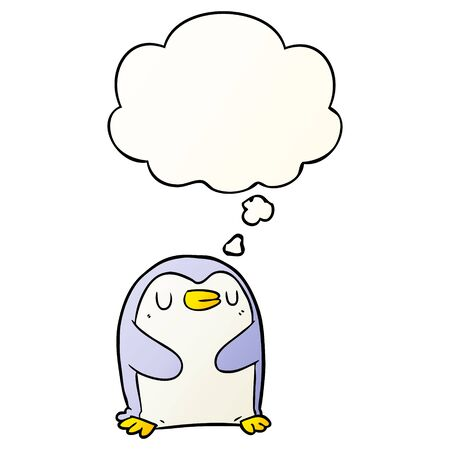 cartoon penguin with thought bubble in smooth gradient style