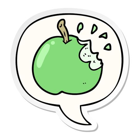 cartoon fresh bitten apple with speech bubble sticker