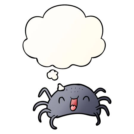 cartoon spider with thought bubble in smooth gradient style Ilustração