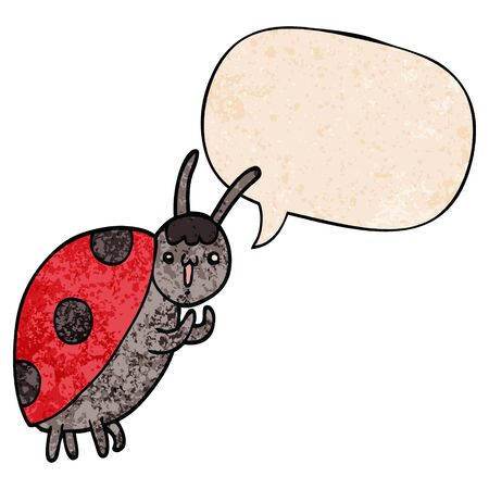 cute cartoon ladybug with speech bubble in retro texture style Ilustracja