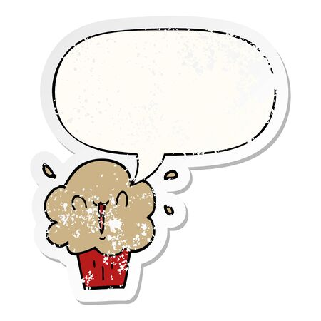 cartoon cupcake with speech bubble distressed distressed old sticker