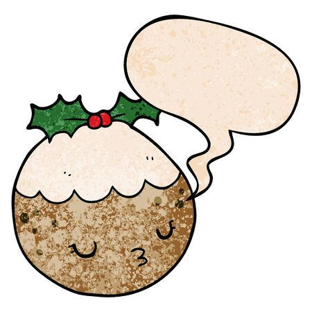cute cartoon christmas pudding with speech bubble in retro texture style