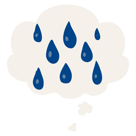 cartoon raindrops with thought bubble in retro style