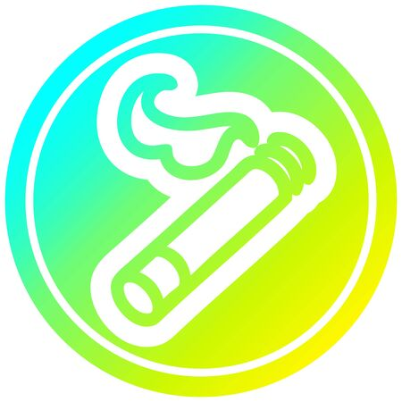 lit cigarette circular icon with cool gradient finish