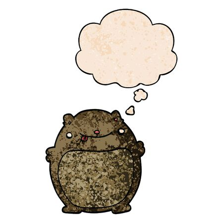 cartoon fat bear with thought bubble in grunge texture style Ilustracja