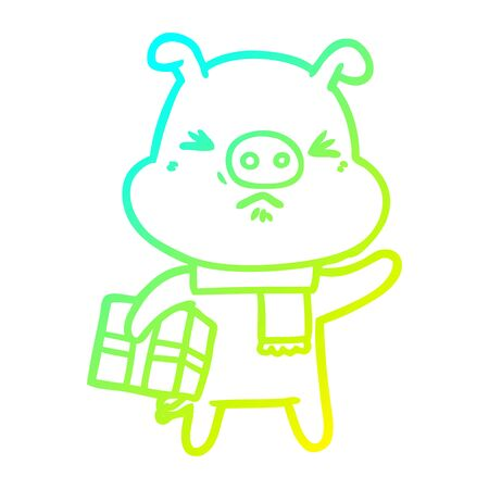 cold gradient line drawing of a cartoon angry pig with christmas present
