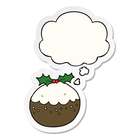 cartoon christmas pudding with thought bubble as a printed sticker Ilustracja