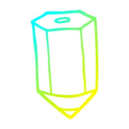cold gradient line drawing of a cartoon colored pencil