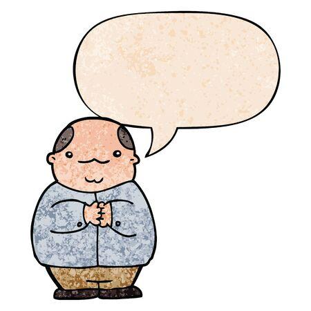 cartoon balding man with speech bubble in retro texture style