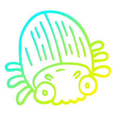 cold gradient line drawing of a cartoon huge beetle Foto de archivo - 129128748