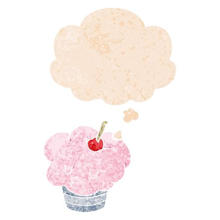 cartoon cupcake with thought bubble in grunge distressed retro textured style
