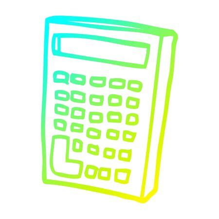 cold gradient line drawing of a cartoon calculator 스톡 콘텐츠 - 129042141