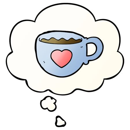 I love coffee cartoon cup with thought bubble in smooth gradient style Vettoriali