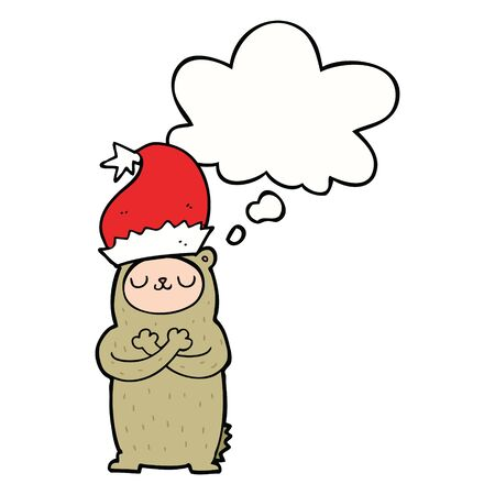 cartoon bear wearing christmas hat with thought bubble
