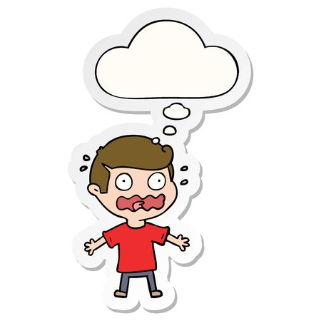 cartoon man totally stressed out with thought bubble as a printed sticker Illustration