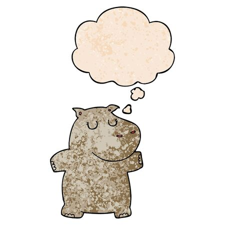 cartoon hippo with thought bubble in grunge texture style