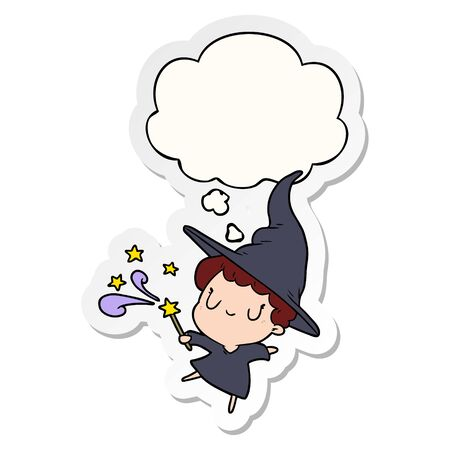 cartoon witch with thought bubble as a printed sticker