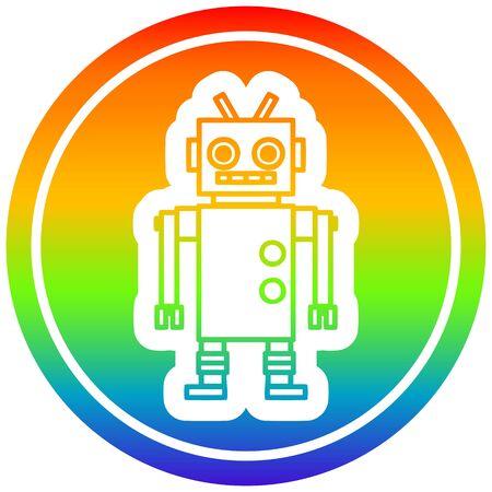 dancing robot circular icon with rainbow gradient finish