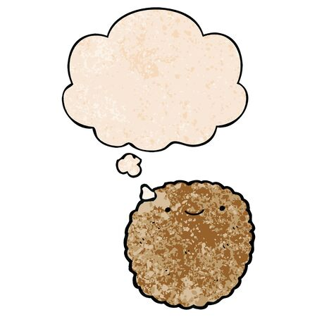 cartoon biscuit with thought bubble in grunge texture style Vetores