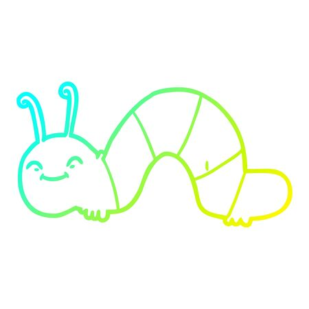 cold gradient line drawing of a cartoon happy bug