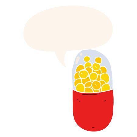 cartoon pill with speech bubble in retro style
