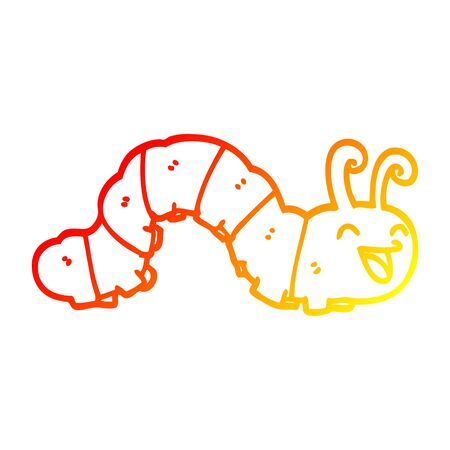 warm gradient line drawing of a cute cartoon caterpillar