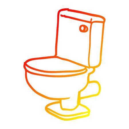 warm gradient line drawing of a cartoon golden toilet