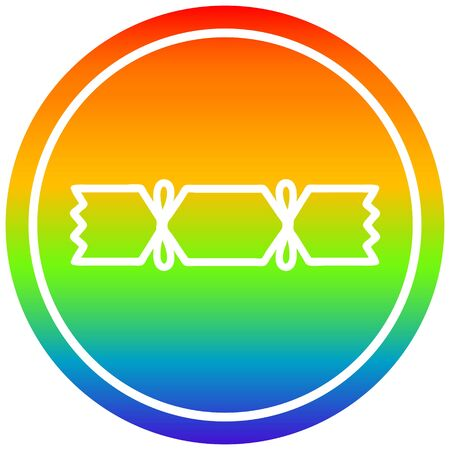 christmas cracker circular icon with rainbow gradient finish 写真素材 - 129094259