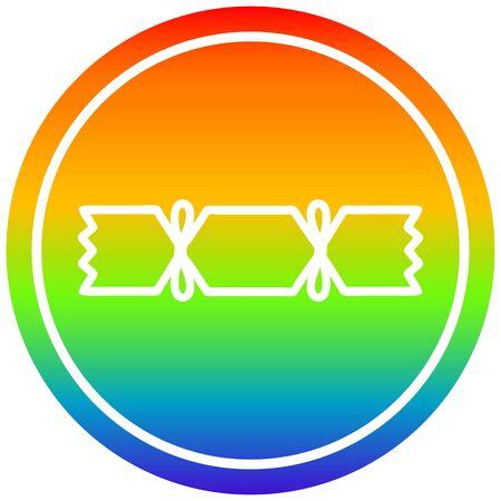 christmas cracker circular icon with rainbow gradient finish Illustration