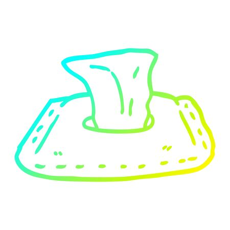cold gradient line drawing of a cartoon toilet wipes