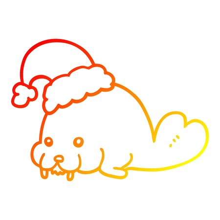 warm gradient line drawing of a cartoon christmas walrus