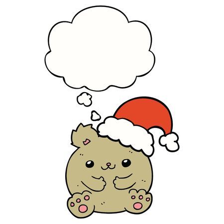 cute cartoon christmas bear with thought bubble