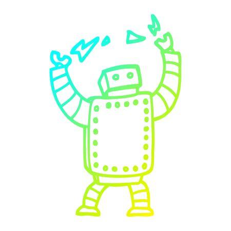cold gradient line drawing of a cartoon giant robot Ilustração