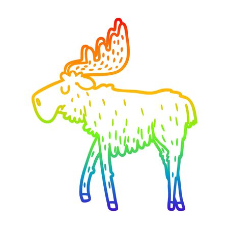 rainbow gradient line drawing of a cartoon moose
