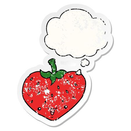 cartoon strawberry with thought bubble as a distressed worn sticker Vetores