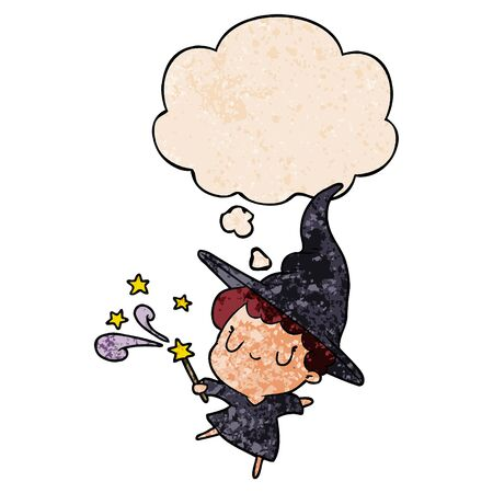 cartoon witch with thought bubble in grunge texture style Illustration