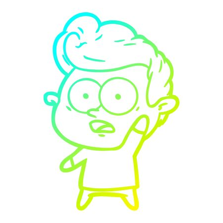 cold gradient line drawing of a cartoon man asking question