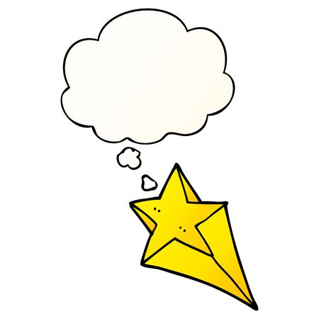 cartoon shooting star with thought bubble in smooth gradient style Stock fotó - 129128954