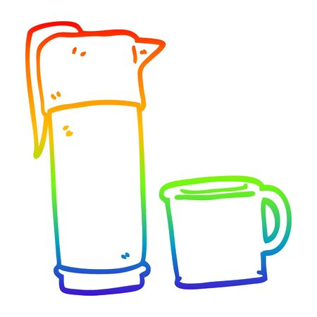 rainbow gradient line drawing of a cartoon coffee vaccum flask 向量圖像