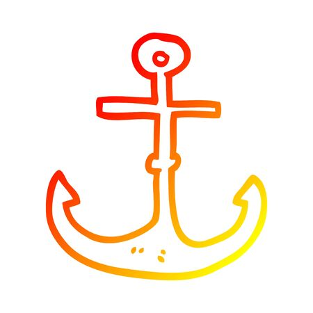 warm gradient line drawing of a cartoon ship anchor Standard-Bild - 129128987