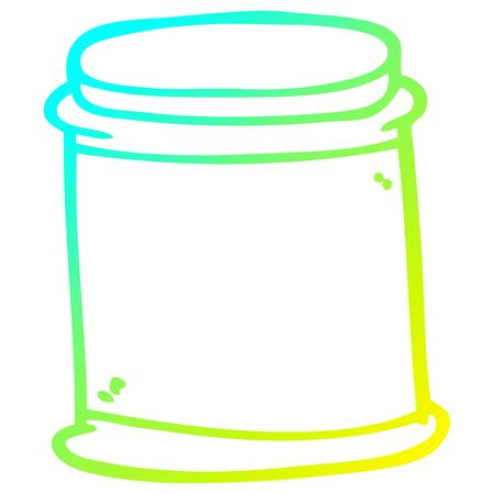 cold gradient line drawing of a cartoon vitamin pots