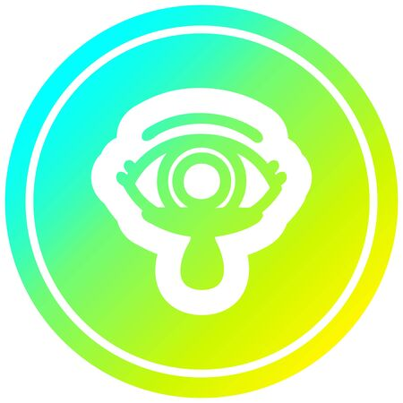 mystic eye crying blood circular icon with cool gradient finish