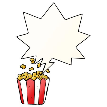 cartoon popcorn with speech bubble in smooth gradient style