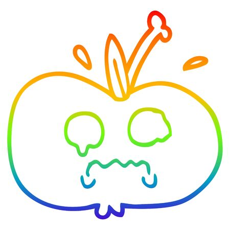 rainbow gradient line drawing of a cartoon of a sad apple