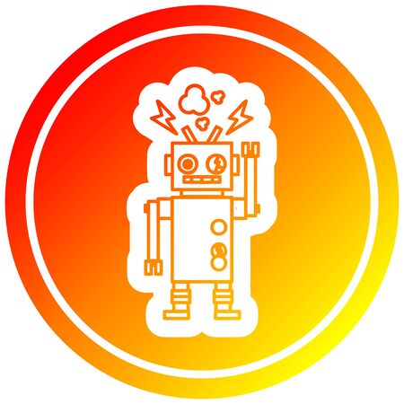 malfunctioning robot circular icon with warm gradient finish