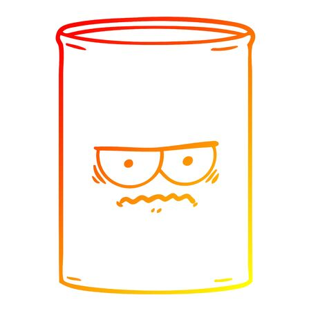 warm gradient line drawing of a cartoon oil drum