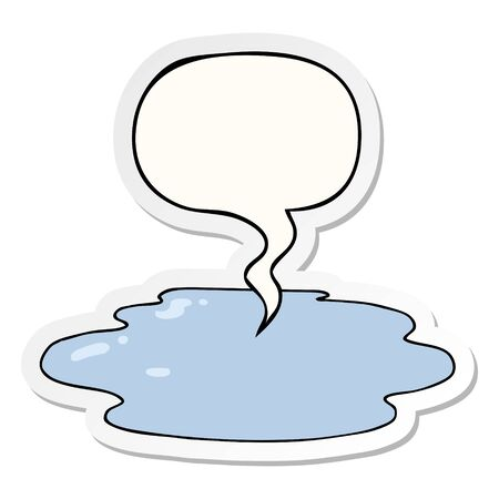 cartoon puddle of water with speech bubble sticker