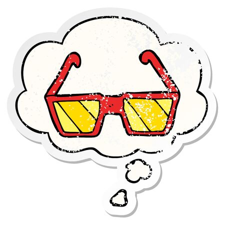 cartoon glasses with thought bubble as a distressed worn sticker